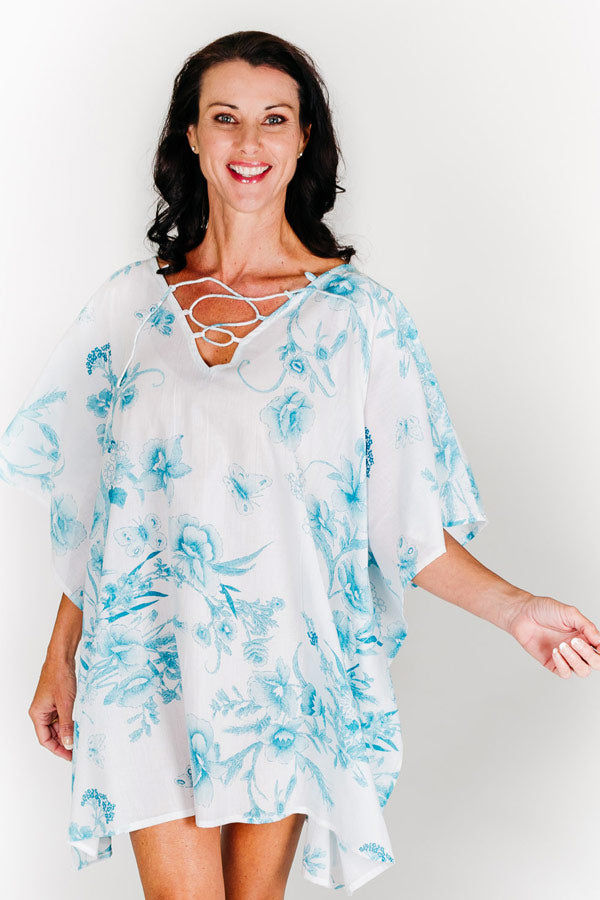 Turtle Bay L short kaftan dress in cotton