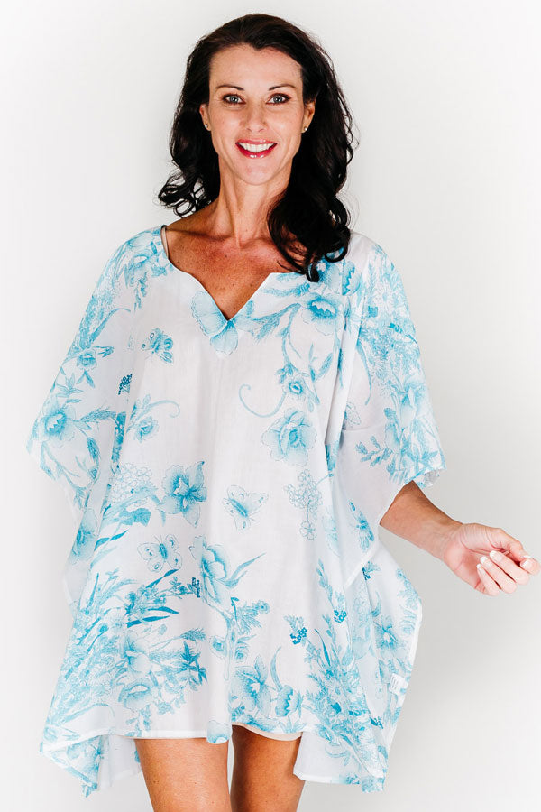 Turtle Bay V short kaftan dress in cotton