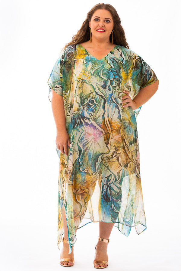 Waikiki Beach Long Silk Kaftan Dress, Laloom Kaftans