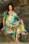 Waikiki Beach Silk Kaftan Dress, Laloom Kaftans