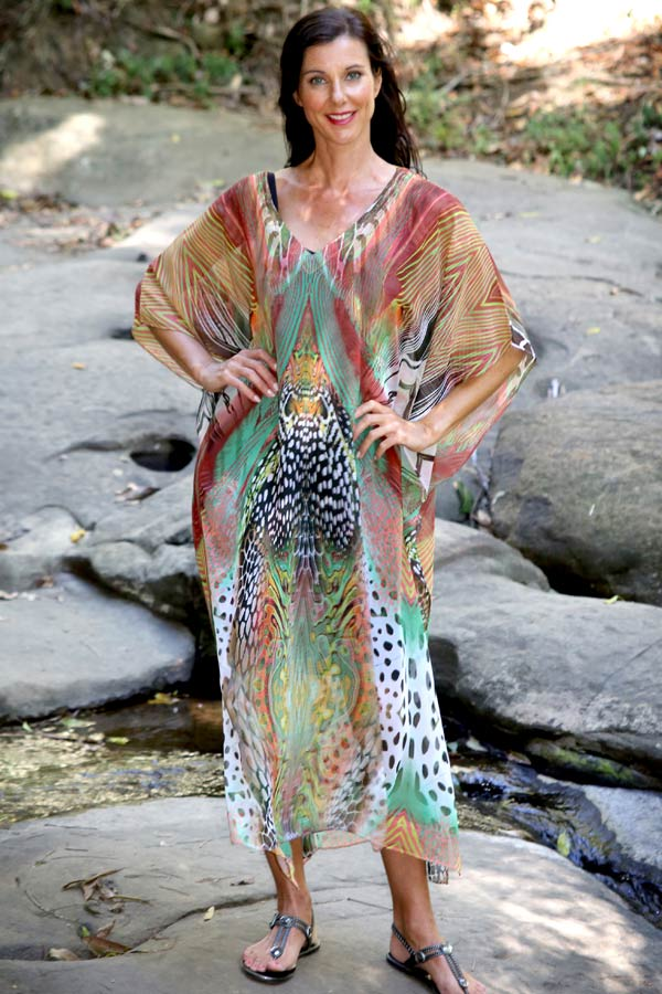 Warrior Princess long kaftan dress in chiffon
