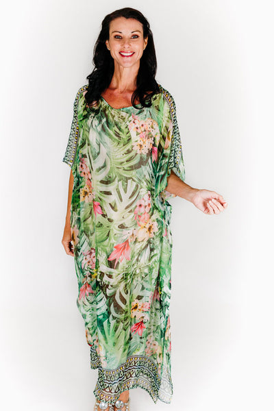 Whitehaven long kaftan dress in chiffon