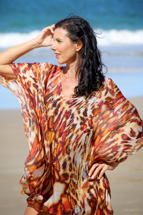 Wild Thing short kaftan dress in silk