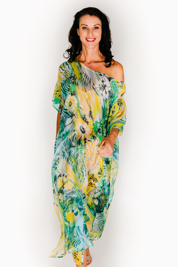 Wineglass Bay long kaftan dress in pure silk