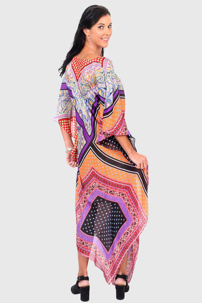 Yes To Dancing orange & purple long kaftan dress
