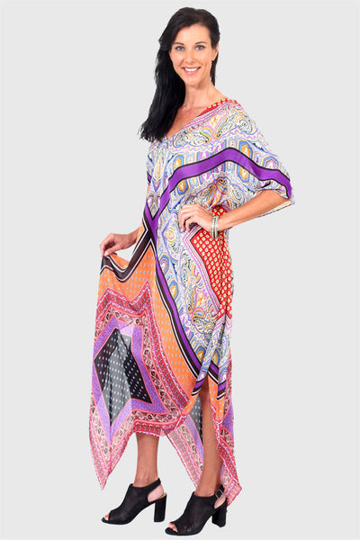 Yes To Dancing purple & orange long kaftan dress