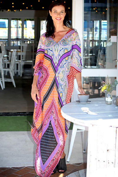 Yes To Dancing purple & orange long kaftan