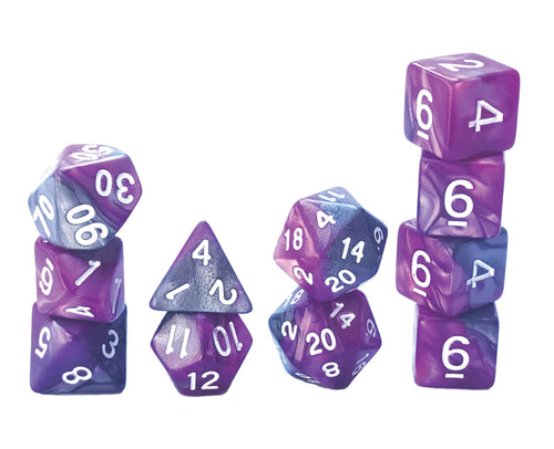 Mystic Dice DnD Dark Nebula - 11 Piece dice set for Dungeons and Dragons