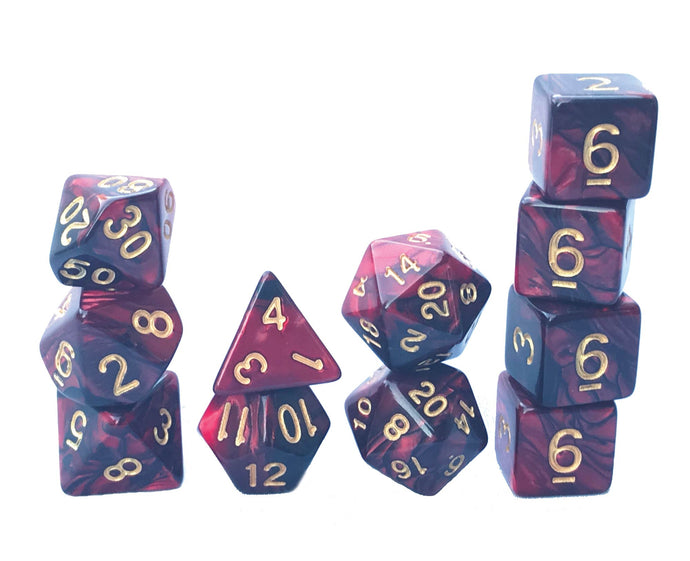 Mystic Dice DnD Demon Flame - 11 Piece dice set for Dungeons and Dragons