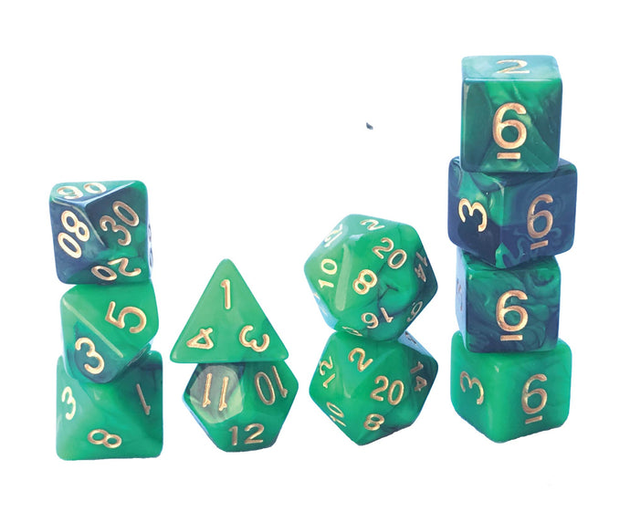 Mystic Dice DnD Emerald Wing - 11 Piece dice set for Dungeons and Dragons