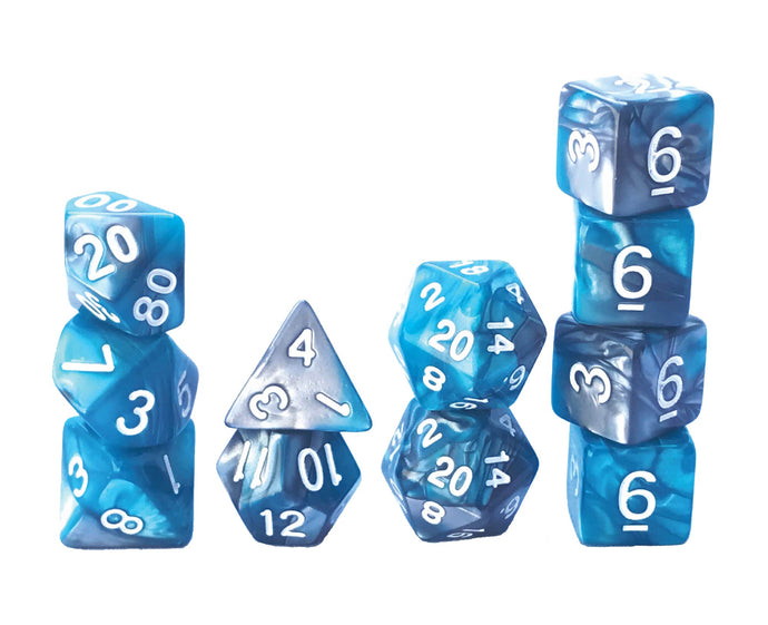 Mystic Dice DnD Ocean Pearl - 11 Piece dice set for Dungeons and Dragons