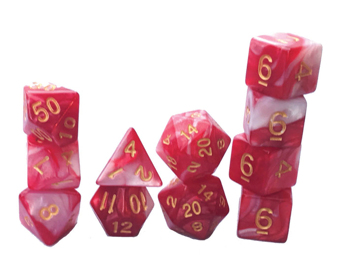 Mystic Dice DnD Werebear Blood - 11 Piece dice set for Dungeons and Dragons