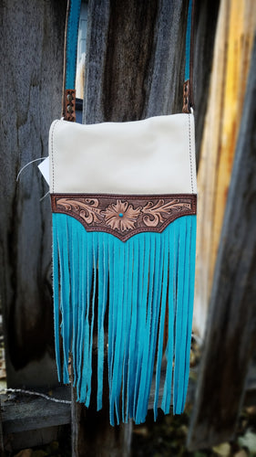 Turquoise and cream floral purse