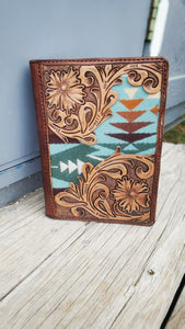 Floral day planner cover with pendleton wool inlay
