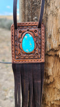 Load image into Gallery viewer, The Savannah leather and turquoise necklace