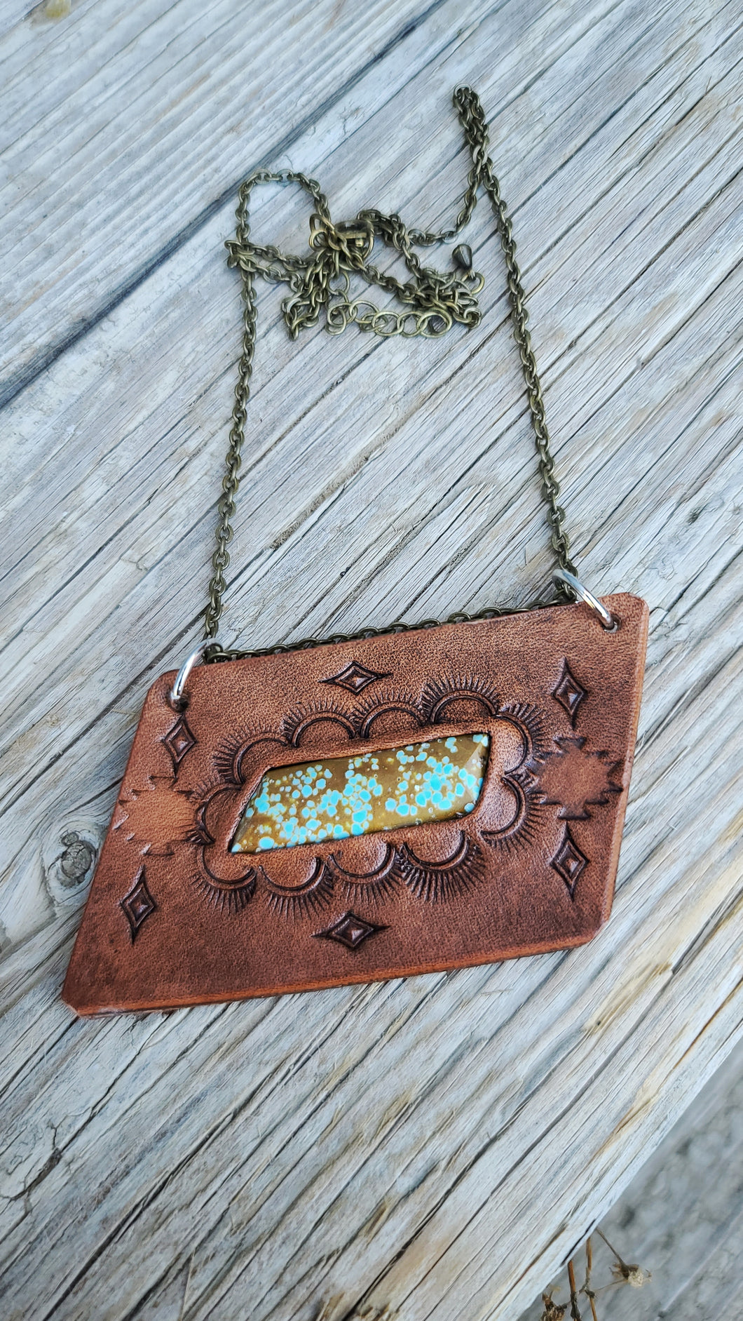 Turquoise leather bar necklace