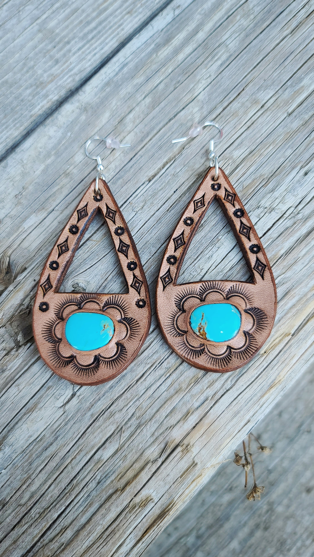 The Abby leather and turquoise earrings