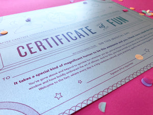 Certificate of Fun