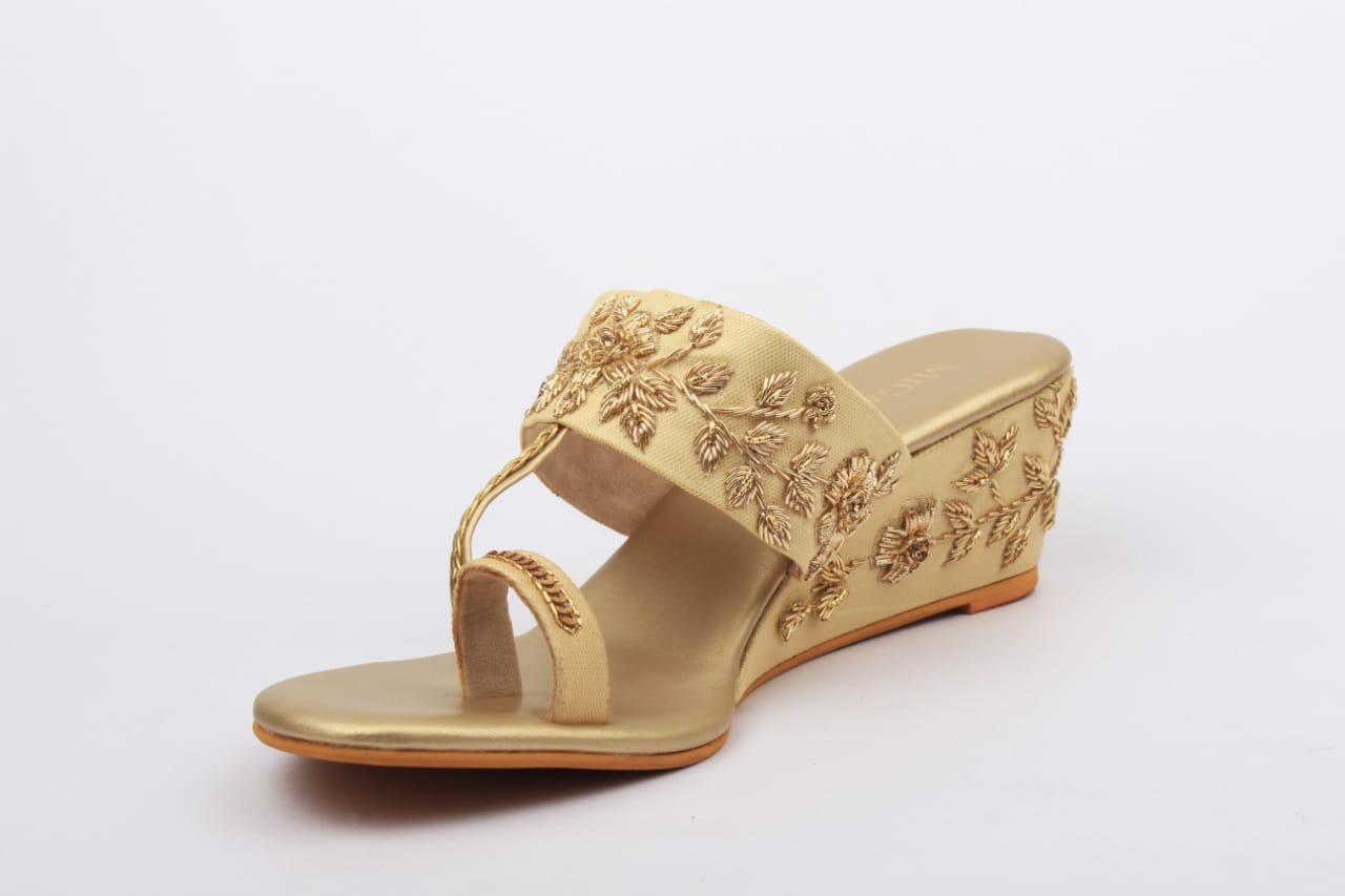 Gold Zardosi Wedges