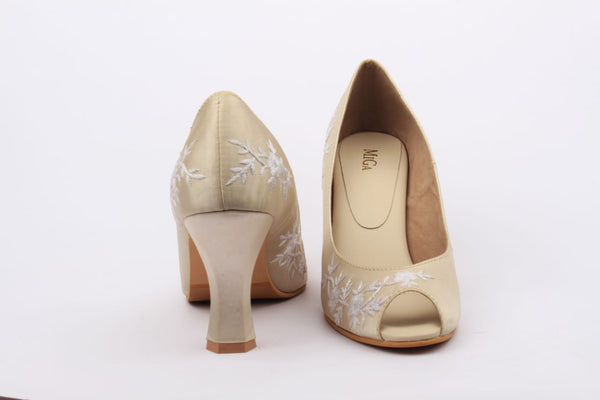 White Embroidered Lace Peeptoes