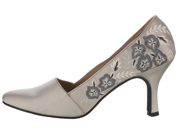 Gray Embroidered Pumps