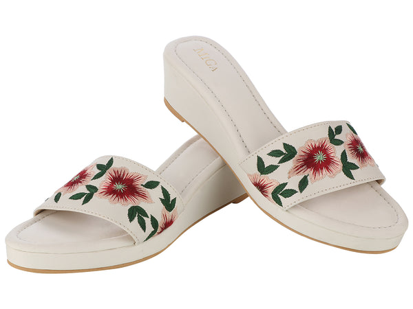 White and floral embroidery Platform