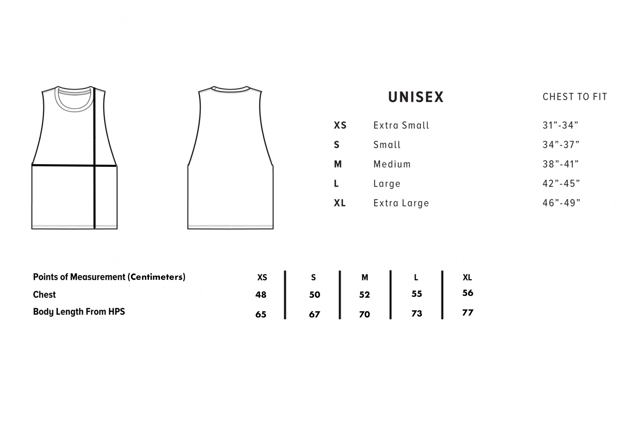 Size chart for muscle tanks