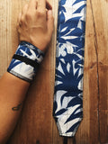 Blue tropical wrist wraps