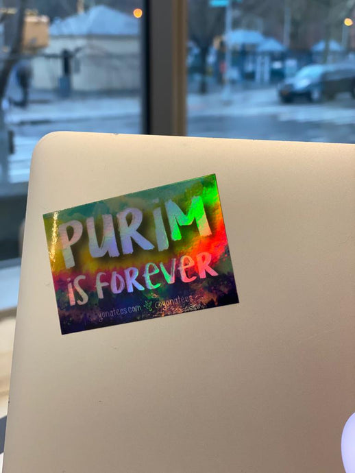 Purim is Forever Holographic Sticker