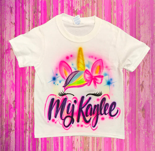 Custom Airbrush Unicorn with Name T-Shirt