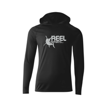Load image into Gallery viewer, REELREPORTS LONG SLEEVE HOOD - BLACK