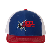 Load image into Gallery viewer, ReelReports Performance Snapback Hat (Red,White,Blue)