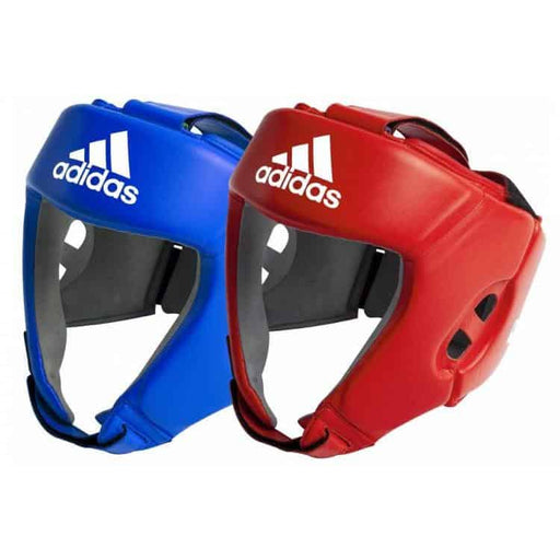 Adidas Leather Pro Boxing Head Gear Guard Blue Red [S/M/L/XL] - MMA DIRECT