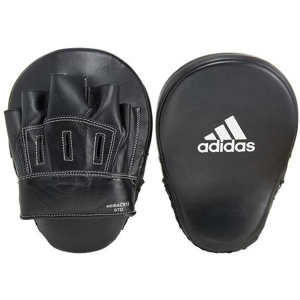 Adidas Leather Slim Curved Focus Mitts Punch Pads Training Boxing Black - MMA DIRECT