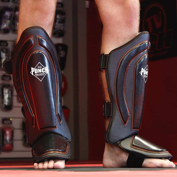 PUNCH Precision Black Diamond Shin Pads Premium Kickboxing MMA Training - MMA DIRECT