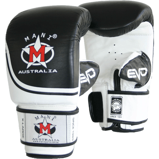 Mani Black & White Leather EVO Bag Mitts Training Gloves MBM-117 - MMA DIRECT