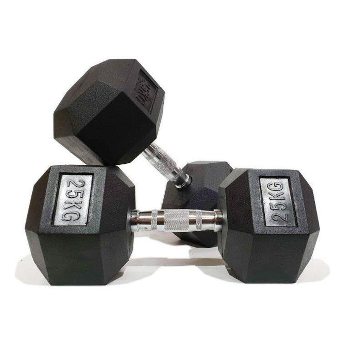 Morgan Hex Dumbbells PAIR Rubber Coated Cast Iron Commercial Gym Grade 2-35KG