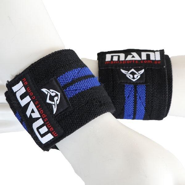 MANI Elastic Wrist Support 26 Inch Wraps Blue (PAIR) - MMA DIRECT