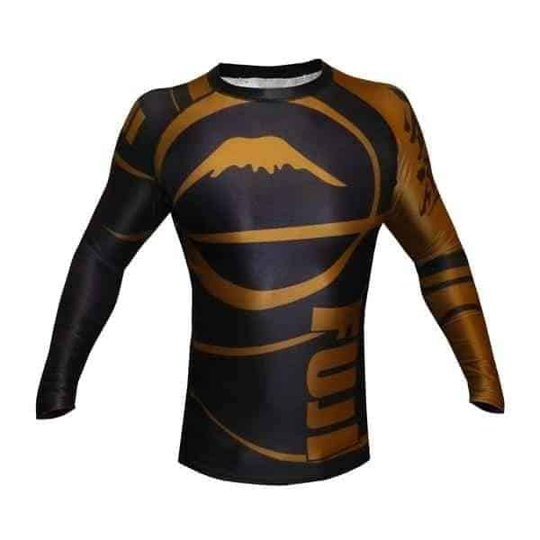 FUJI Freestyle IBJJF Approved Long Sleeve Rash Guard Brown MMA BJJ Thai - MMA DIRECT