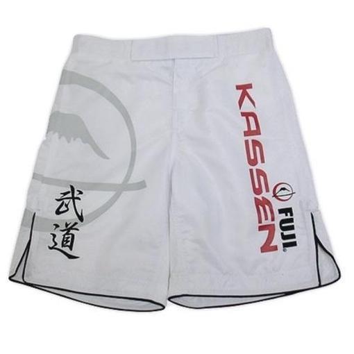 FUJI Kassen Fight Shorts White Boxing MMA BJJ Thai Pro Fightwear Clothing - MMA DIRECT