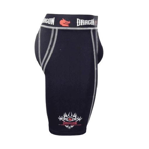 Dragon Compression Flex Shorts + TriFlex Groin Cup Guard Protector XS/S/M/L/XL - MMA DIRECT