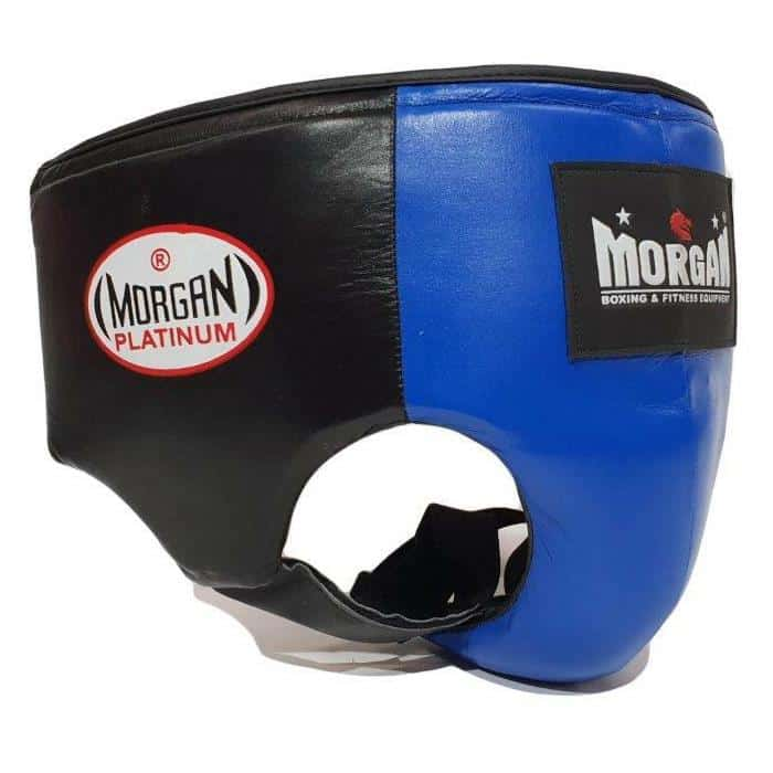 Morgan Platinum Leather Abdo Groin Guard Pad Protector [Blue/Red] Boxing / MMA - MMA DIRECT