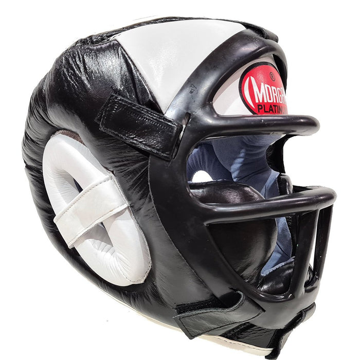 Morgan Leather Head Guard With Abx Plastic Removable Grill