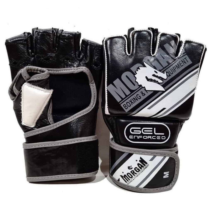 Morgan AVENTUS Gel Shock MMA Hybrid 100% Cowhide Leather Gloves Open Palm - MMA DIRECT