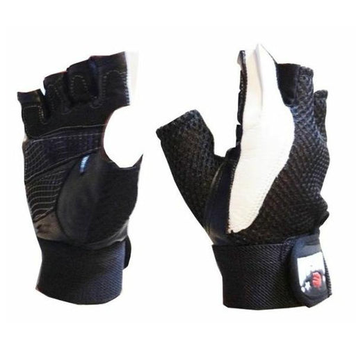 Morgan Leather Mesh Weight Gym Training Gloves Wrist Protection - MMA DIRECT
