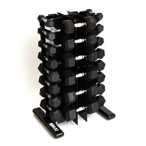 SMAI -  Rubber Hex Dumbbell Set 1-20kg (Pair) with Storage Rack - MMA DIRECT