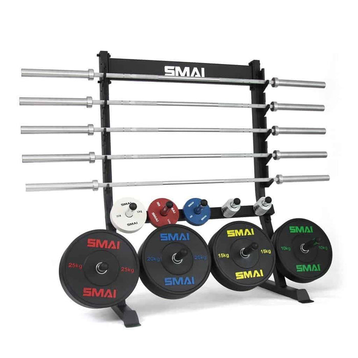 SMAI - Bumper Plate and Barbell Rack Freestanding - MMA DIRECT