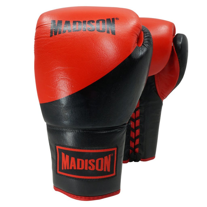 Madison Platinum Lace-up Boxing Gloves - Red/Black Boxing