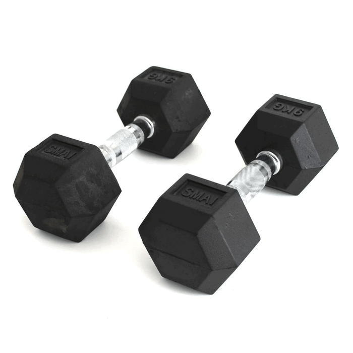 SMAI - Rubber Hex Dumbbells 1 - 20kg (Pair) - MMA DIRECT