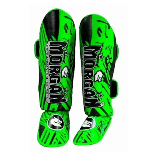 Fluro Green Morgan Lightweight BKK Ready Shin & Instep Ankle Protection Guard - MMA DIRECT